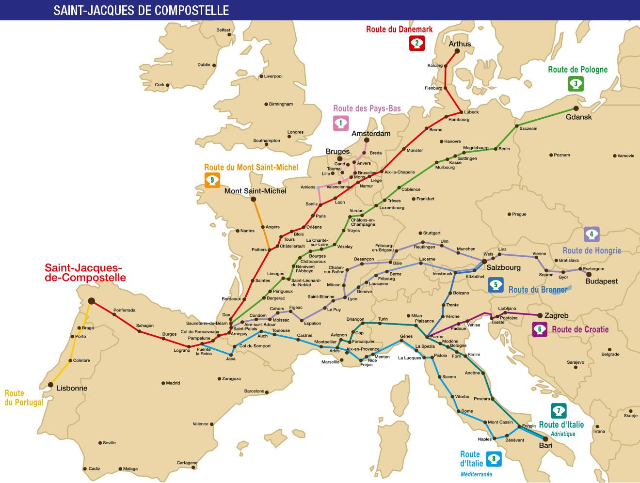 Carte Europe Routes.La Carte Des Routes De Compostelle